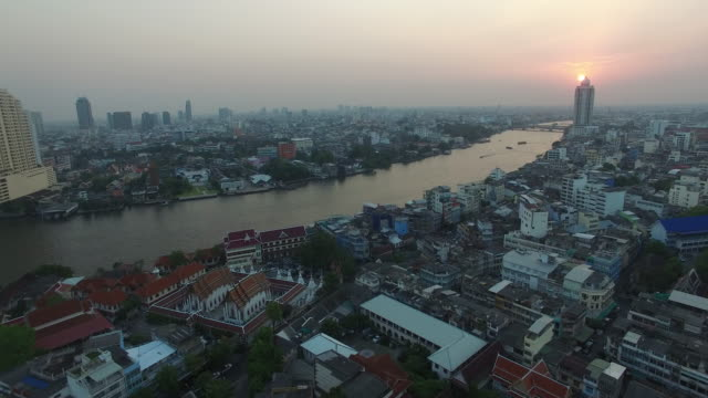 Aerial drone view in Chinatown section of Bangkok Thailand