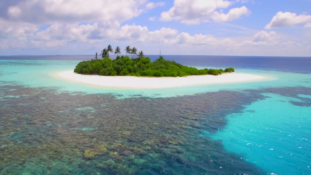 aerial drone view of a coral reef and scenic tropical island in the maldives. - zoom out stock videos & royalty-free footage