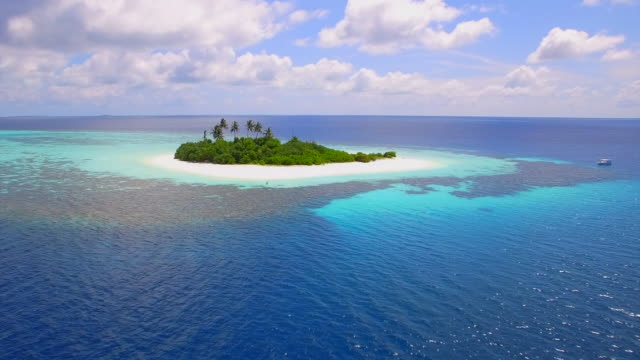 Aerial drone view of a coral reef and scenic tropical island in the Maldives.