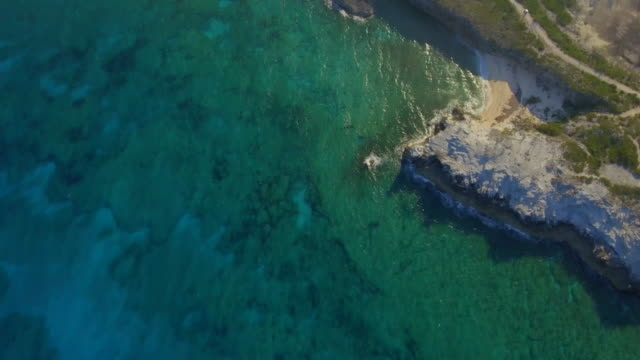 stockvideo's en b-roll-footage met aerial drone view of a deserted beach in the bahamas, caribbean. - bahama's
