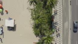 Aerial, drone view of a famous Copacabana sidewalk mosaic in Rio de Janeiro Brazil