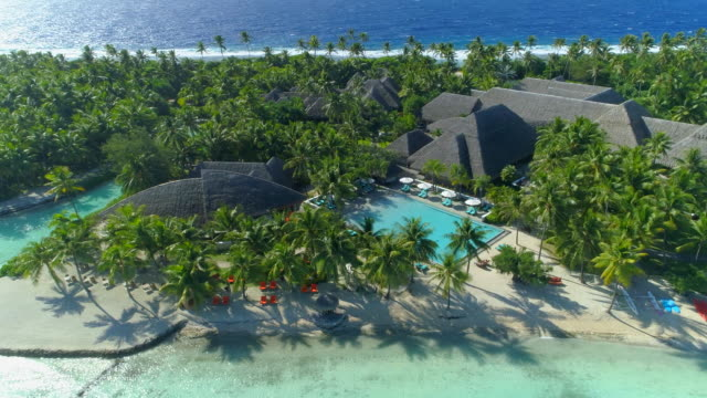 vídeos de stock, filmes e b-roll de aerial drone view of a luxury resort and pool in bora bora tropical island. - polinésia francesa