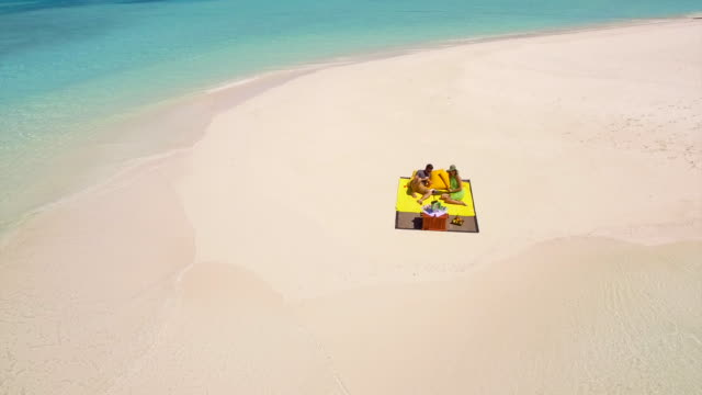 aerial drone view of a man and woman couple having a picnic meal on a tropical island beach. - パレオ点の映像素材/bロール