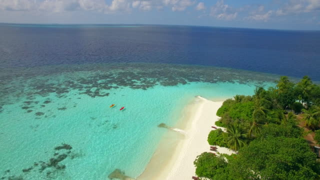 aerial drone view of a man and woman couple kayaking around a tropical island. - caucasian ethnicity bildbanksvideor och videomaterial från bakom kulisserna