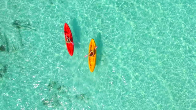 aerial drone view of a man and woman couple kayaking around a tropical island. - kayaking stock videos and b-roll footage