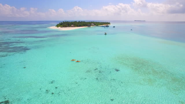 aerial drone view of a man and woman couple kayaking around a tropical island. - climate icon stock videos & royalty-free footage