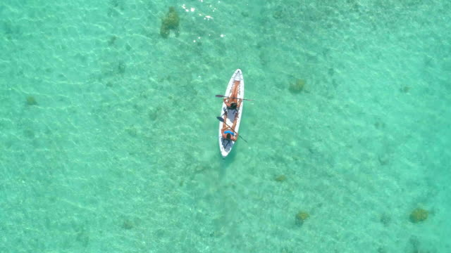 vidéos et rushes de aerial drone view of a man and woman couple kayaking on a tandem kayak in scenic tropical islands. - kayak