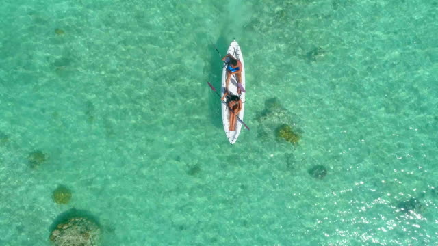 stockvideo's en b-roll-footage met aerial drone view of a man and woman couple kayaking on a tandem kayak in scenic tropical islands. - stille zuidzee