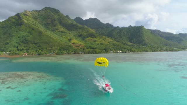 aerial drone view of a man and woman couple parasailing tandem over a tropical island. - kite sailing stock videos & royalty-free footage