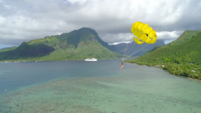aerial drone view of a man and woman couple parasailing tandem over a tropical island near a cruise ship. - フランス海外領点の映像素材/bロール
