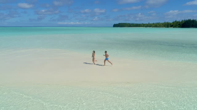 aerial drone view of a man and woman couple running playfully on a scenic tropical island in french polynesia. - ロマンス点の映像素材/bロール
