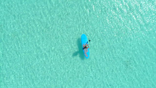 vídeos de stock, filmes e b-roll de aerial drone view of a man sup stand-up paddleboarding in bora bora tropical island. - polinésia francesa