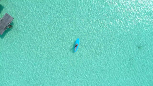 vídeos y material grabado en eventos de stock de aerial drone view of a man sup stand-up paddleboarding in bora bora tropical island. - exotismo