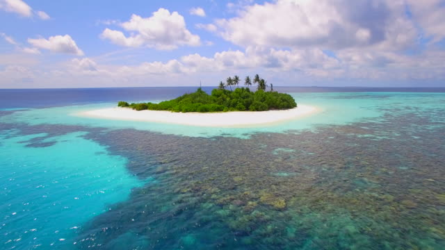 Aerial drone view of a scenic tropical island in the Maldives.