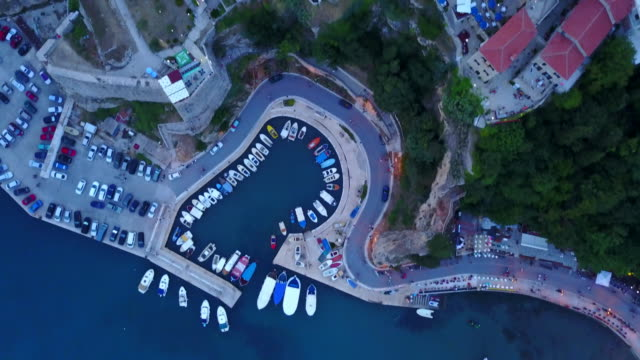Aerial drone view of a small fishing village in Montenegro.