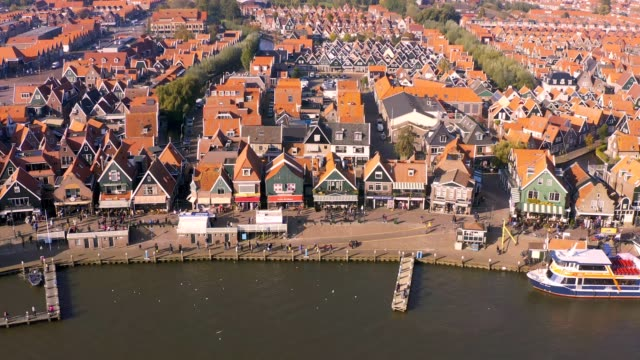 aerial drone view of a village in the municipality of waterland in the province of north holland, netherlands - netherlands stock videos & royalty-free footage