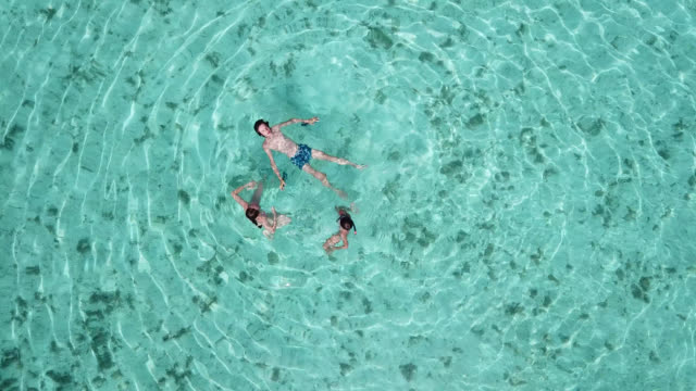 aerial drone view of a woman  and children floating and swimming on a tropical island. - island stock videos & royalty-free footage