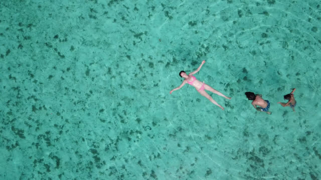 vidéos et rushes de aerial drone view of a woman  and children floating and swimming on a tropical island. - paradis