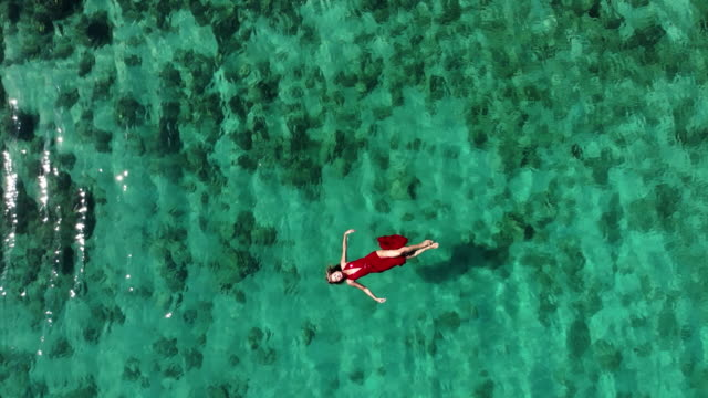 vídeos de stock e filmes b-roll de aerial drone view of a woman floating and swimming on a tropical sea - puro