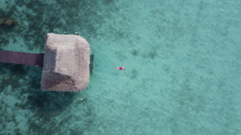 luftbild-drohne blick einer frau schweben und schwimmen am bacalar lagune, mexiko. - zoom out stock-videos und b-roll-filmmaterial