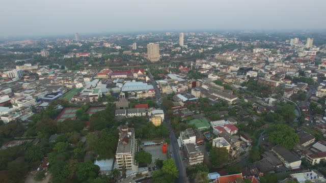 aerial drone view of around the moat and city walls of chiang mai, thailand. - moat stock videos & royalty-free footage