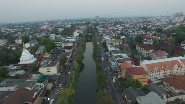 Aerial Drone view of around the moat and city walls of Chiang Mai Thailand