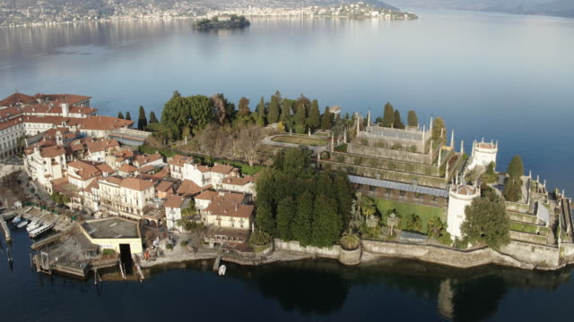 Aerial drone view of Borromean islands, Lake Maggiore, Italy