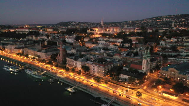 aerial drone view of budapest skyline t blue hour, budapest, hungary - royal palace of buda stock videos & royalty-free footage