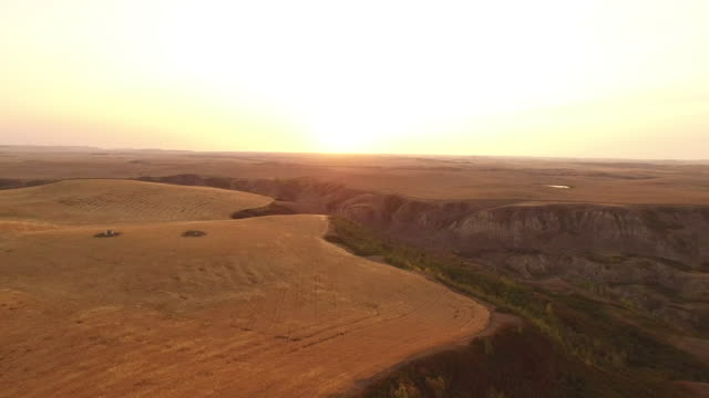 aerial drone view of canadian badlands - badlands stock videos & royalty-free footage