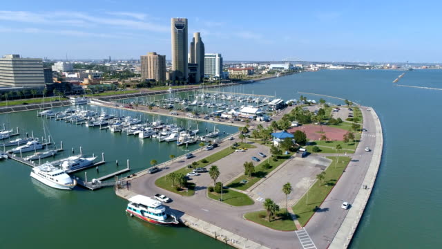 Aerial Drone view of Corpus Christi , Texas , USA T-head Bayfront Downtown by the Bay Sunny afternoon