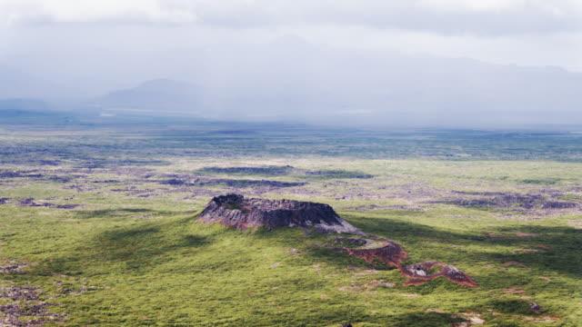 aerial drone view of eldborg volcano, iceland - vulkanlandschaft stock-videos und b-roll-filmmaterial
