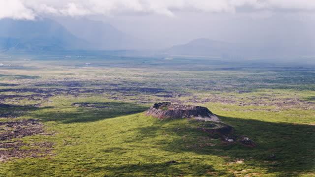 Aerial drone view of Eldborg volcano, Iceland