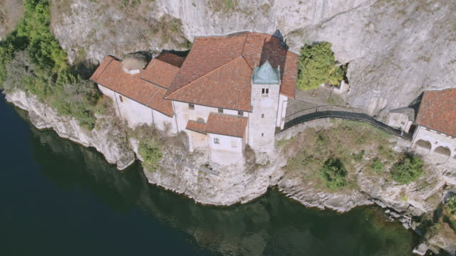 Aerial drone view of famous hermitage on Lake Maggiore, Italy