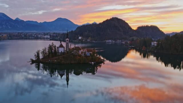 Aerial drone view of famous lake Bled at sunrise, Slovenia