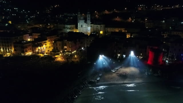 aerial drone view of fireworks over camogli and sea - hd format stock-videos und b-roll-filmmaterial