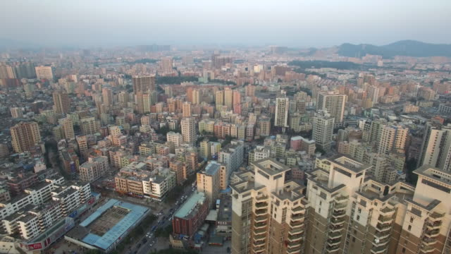 Aerial drone view of high rises in Shajing Shenzhen China