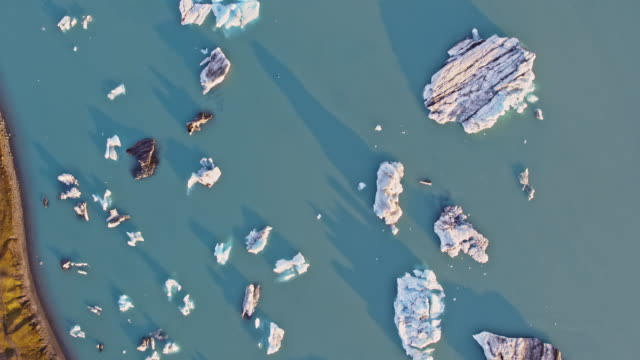 Aerial drone view of icebergs, Jokulsarlon, Iceland
