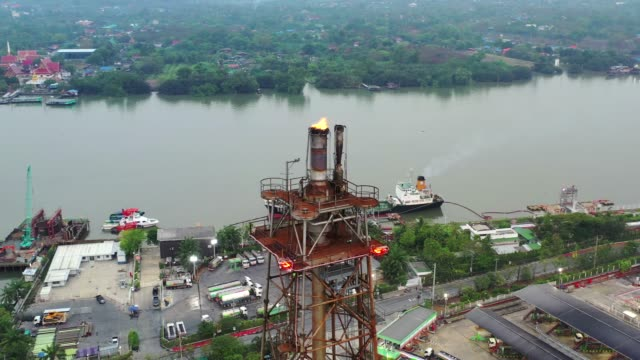 aerial drone view of Industrial oil refinery plant form industry zone