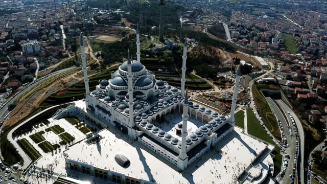 aerial drone view of istanbul camlica mosque and bosphorus. biggest mosque in europa - biggest stock videos & royalty-free footage