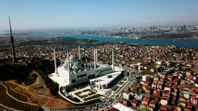 Aerial Drone View of Istanbul Camlica Mosque and Bosphorus. Biggest Mosque in Europa