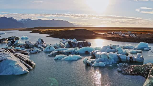 Aerial drone view of Jokulsarlon lagoon at sunrise, Iceland