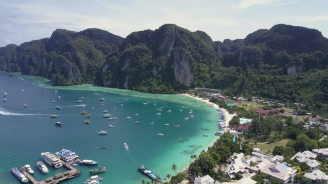 aerial drone view of ko pipi island in southern thailand. - phi phi islands stock videos & royalty-free footage