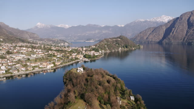 Aerial drone view of lake Como at sunset, Italy