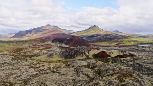 Aerial drone view of lava fields, Snaefellsnes, Iceland