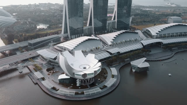 aerial drone view of marina bay singapore - viewpoint stock videos & royalty-free footage