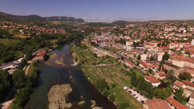 aerial drone view of millau - viaduct stock videos & royalty-free footage