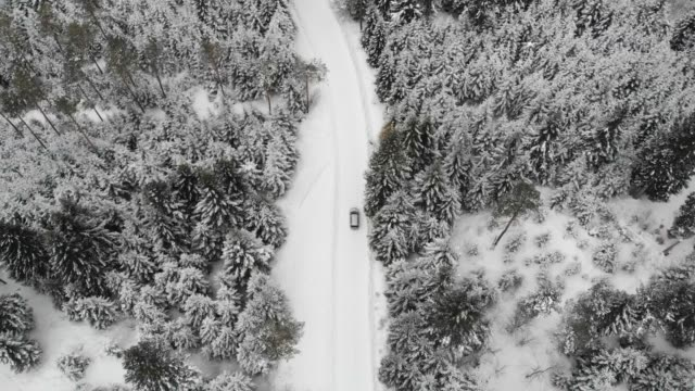 vídeos de stock e filmes b-roll de aerial drone view of minivan suv car driving on a snow covered forest and winter road trail. - separação