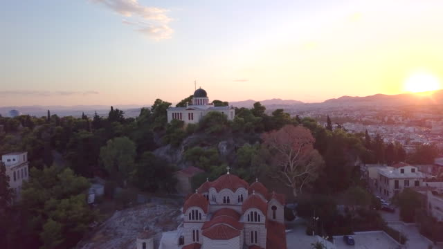 aerial drone view of national observatory of athens, athens, greece. - time-lapse - athens greece stock videos & royalty-free footage
