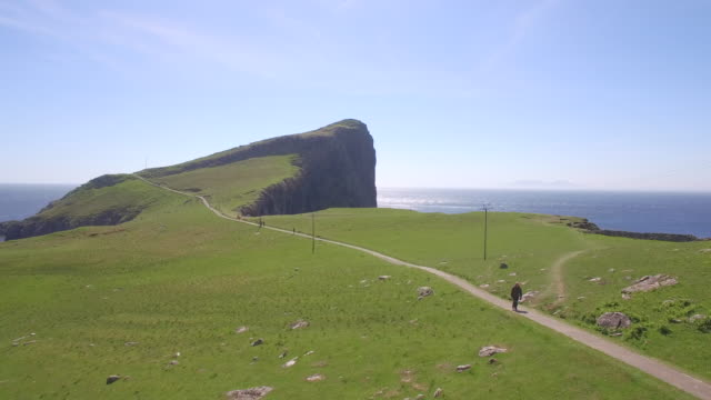 aerial drone view of neist point cliffs, isle of skye, mallaig, scotland, uk. - hebrides stock videos & royalty-free footage