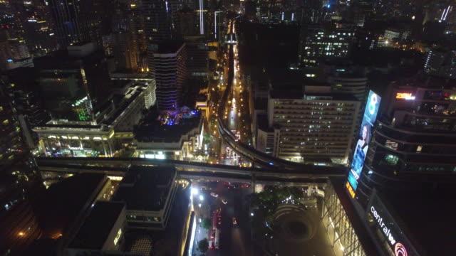 vídeos y material grabado en eventos de stock de aerial drone view of pathum wan junction in bangkok thailand - tren elevado